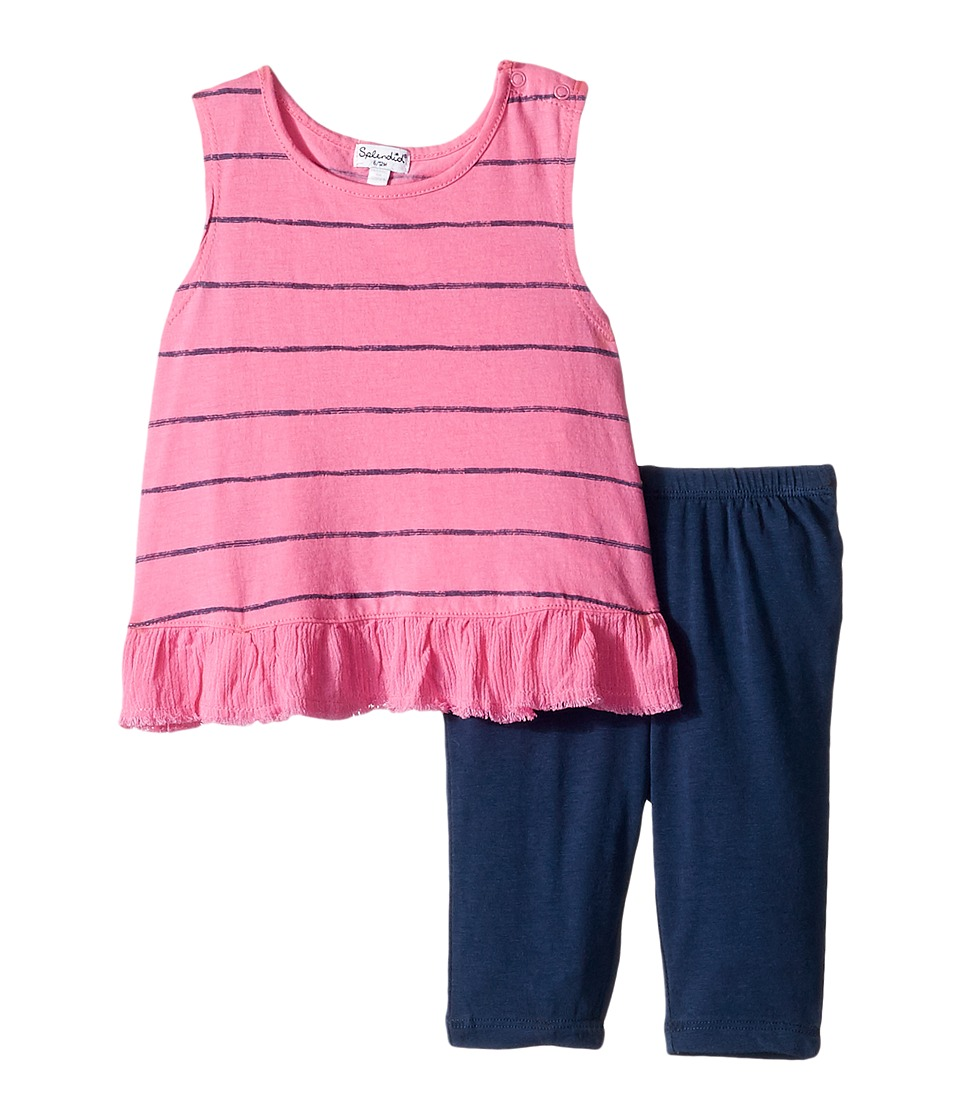 Splendid Littles - Printed Stripe Set (Infant) (Hot Pink) Girl's Active Sets