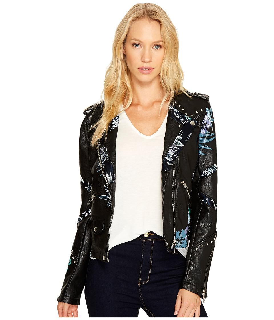 Blank NYC - Black Vegan Leather Moto Graphic Studded Jacket in Teen Dream (Teen Dream) Women's Coat