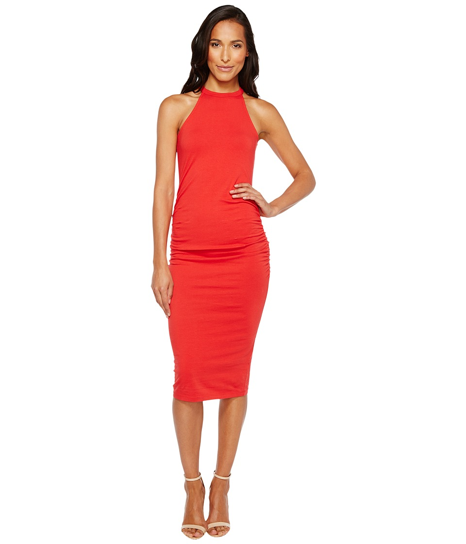 Michael Stars Halter Midi Dress w/ Shirring (Salsa) Women