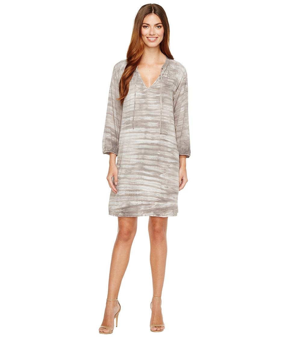 Michael Stars - Water Wash Split-Neck Dress (Oyster) Women's Dress