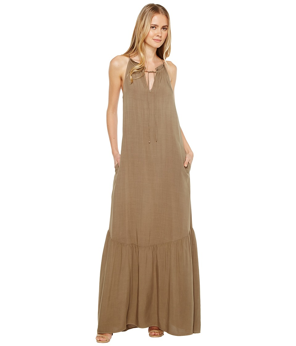 Michael Stars Modern Rayon Maxi Dress (Olive Moss) Women