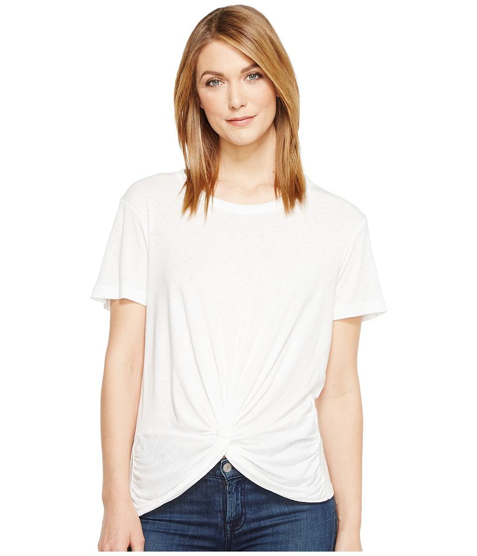 Michael Stars - Slub Short Sleeve Crew Neck with Twist (White) Women's Clothing