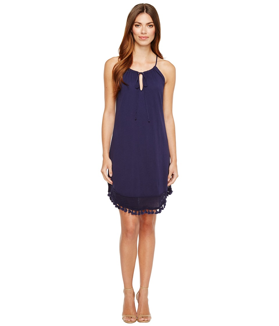 Michael Stars - Halter Dress w/ Fringe Trim (Nocturnal) Women's Dress