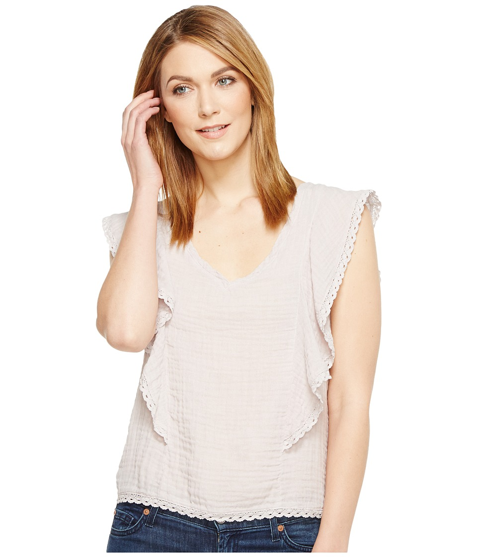 Michael Stars Double Gauze V-Neck Flounce Sleeve Top (Oyster) Women