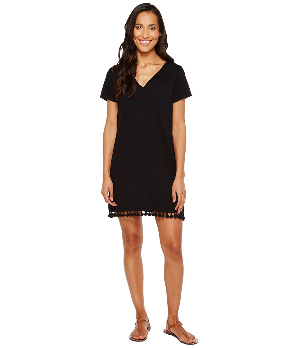 Michael Stars Notched Neck Tee Dress w/ Fringe (Black) Women