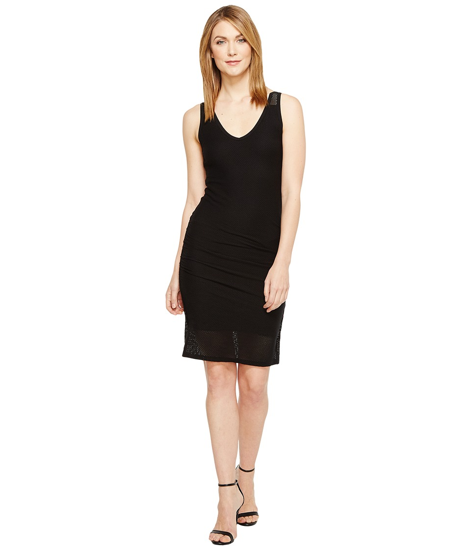 Michael Stars - Mesh V-Neck Dress (Black) Women's Dress