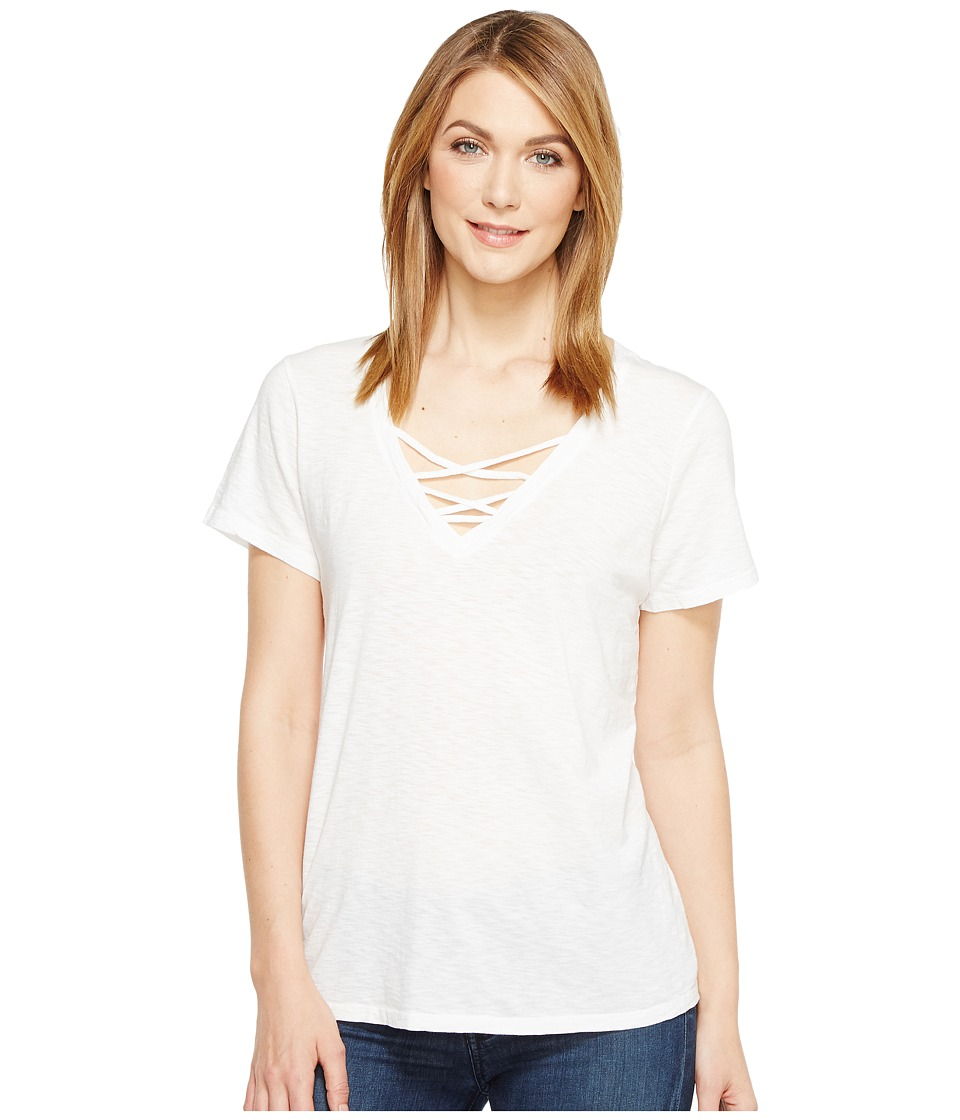 Michael Stars - Supima Cotton Slub Short Sleeve Lace-Up Tee (White) Women's T Shirt