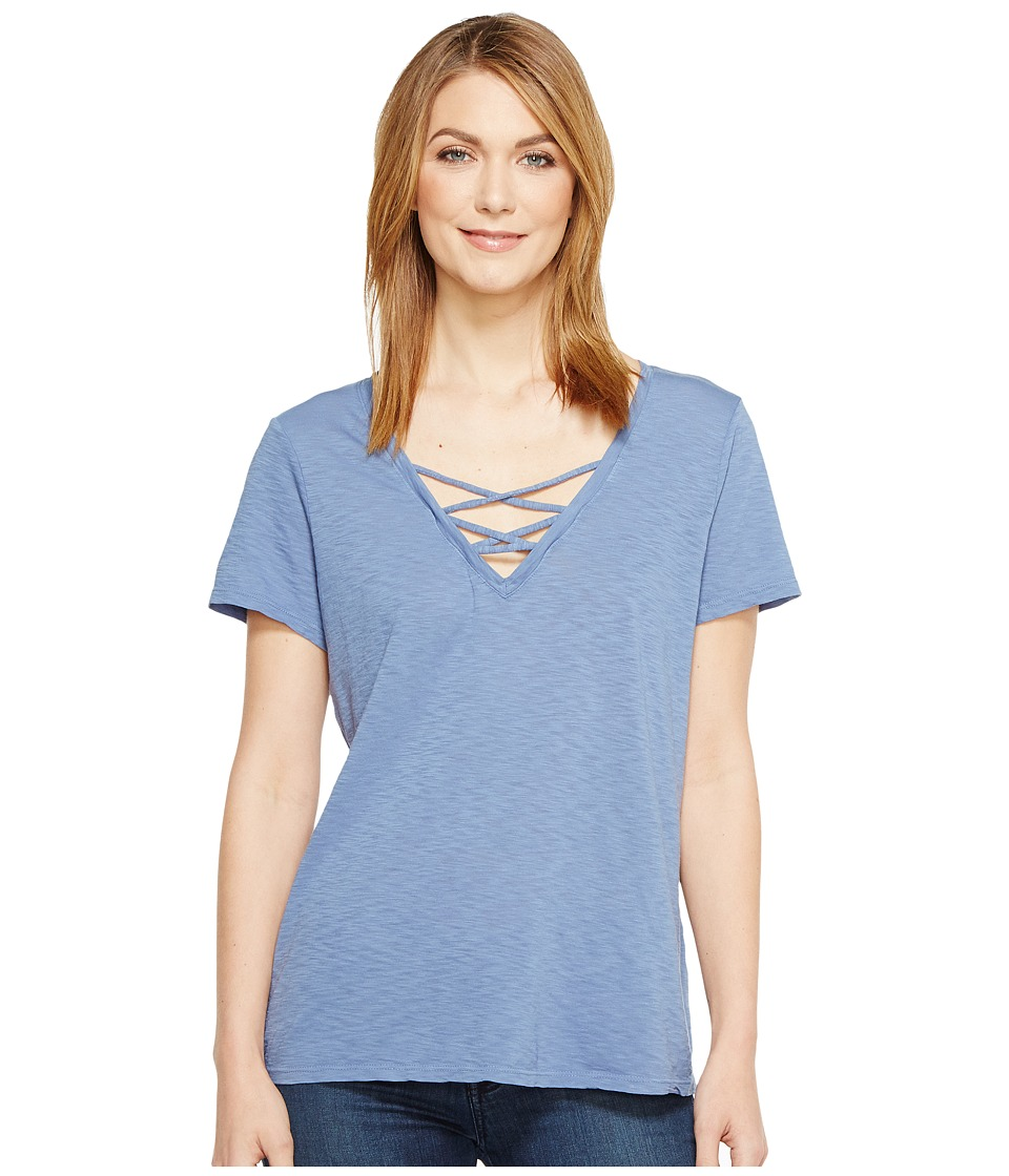 Michael Stars - Supima Cotton Slub Short Sleeve Lace-Up Tee (Indigo) Women's T Shirt
