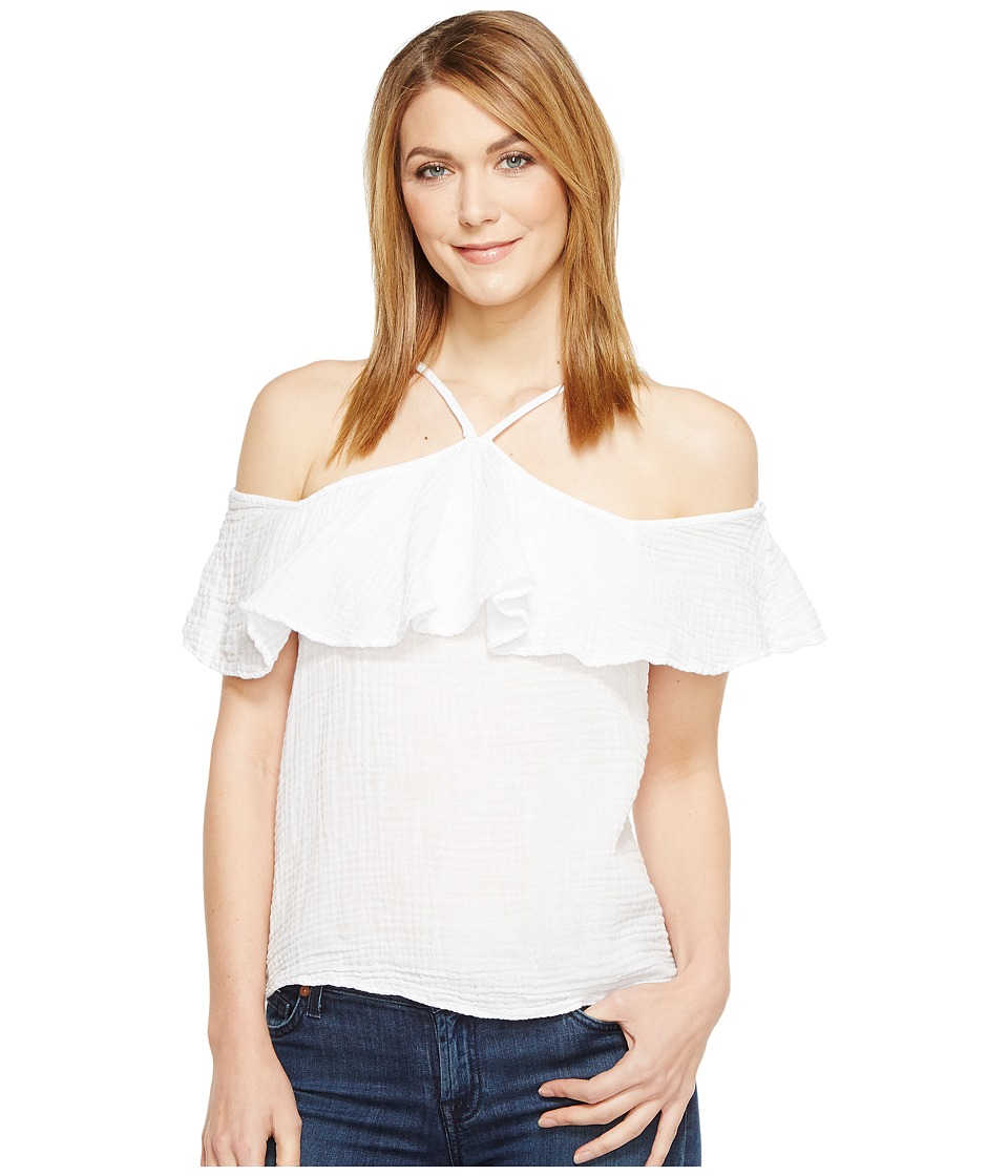 Michael Stars Double Gauze Off the Shoulder Flounce Top (White) Women