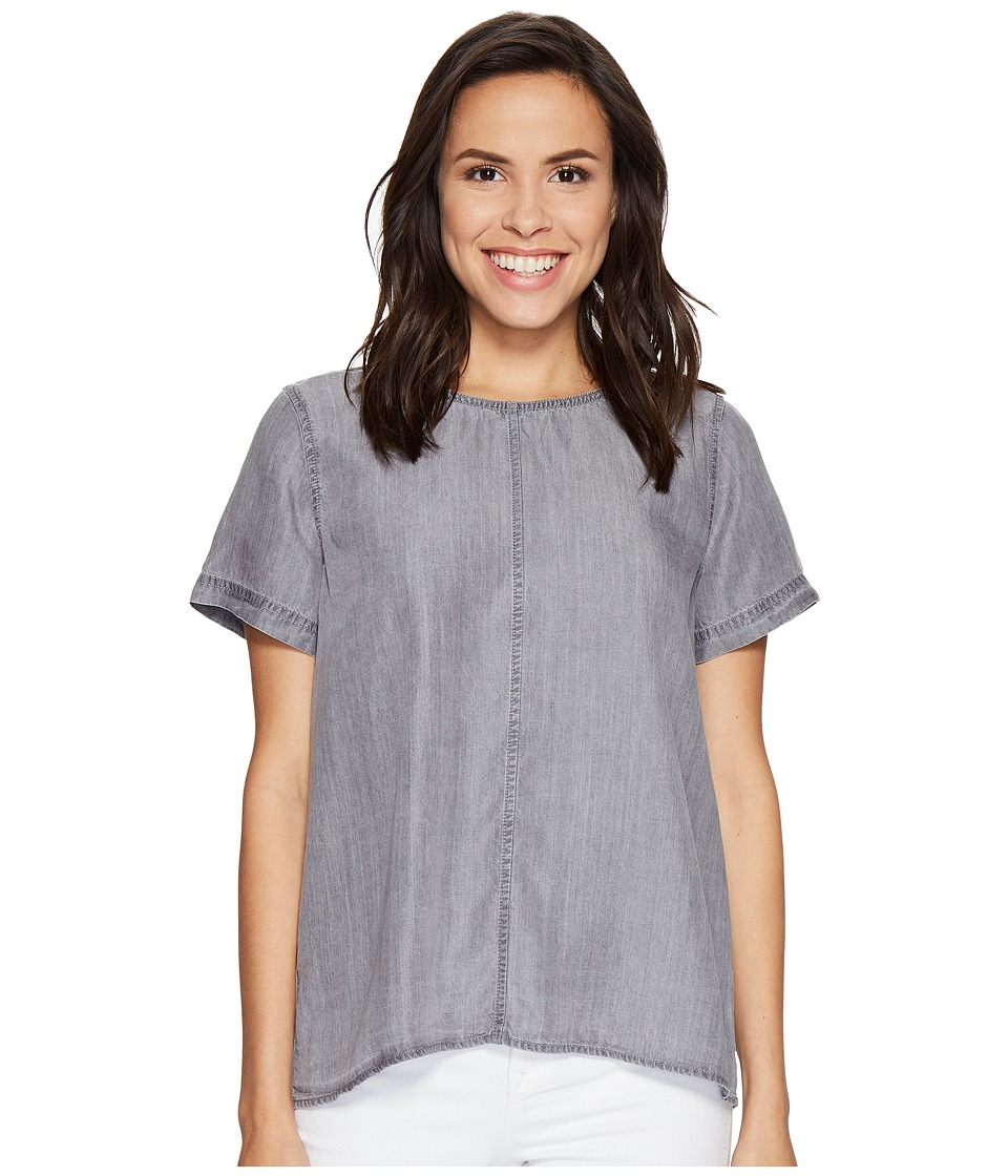 TWO by Vince Camuto - Short Sleeve Tencel Splitback Blouse (Grey Skies) Women's Blouse