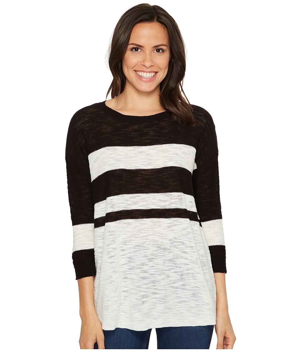 TWO by Vince Camuto - Lightweight Uneven Stripe Scoop Neck Slub Pullover (Rich Black) Women's Long Sleeve Pullover