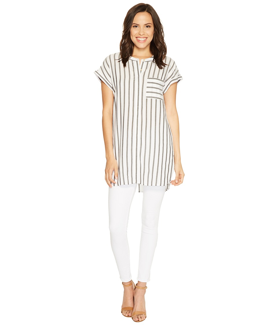 TWO by Vince Camuto - Extend Roll Sleeve Gentile Stripe One-Pocket Tunic (New Ivory) Women's Short Sleeve Pullover