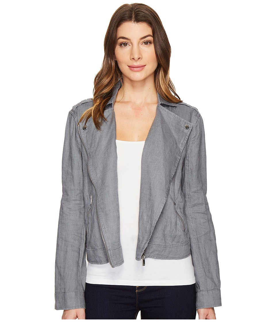 TWO by Vince Camuto - Drapey Linen Moto Jacket (Iron) Women's Coat