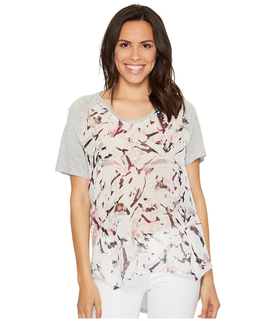 TWO by Vince Camuto Short Sleeve Painterly Muses Raglan Mixed Media Tee (Grey Heather) Women