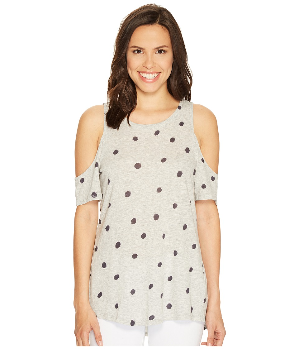 TWO by Vince Camuto Short Sleeve Polka Dot Touches Cold Shoulder Tee (Grey Heather) Women
