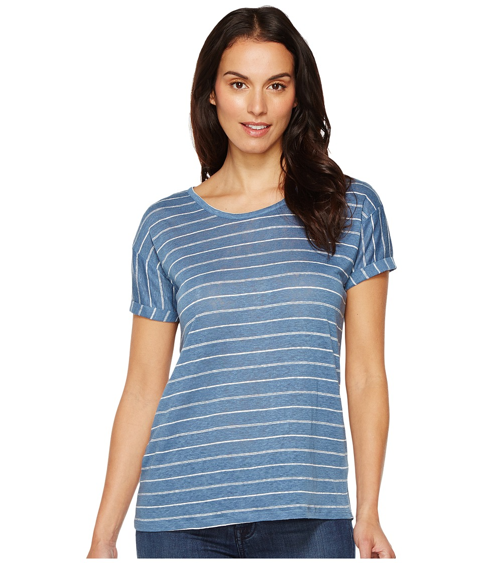 TWO by Vince Camuto - Short Sleeve Tempo Stripe Yarn-Dye Linen Tee (Night Dive) Women's T Shirt