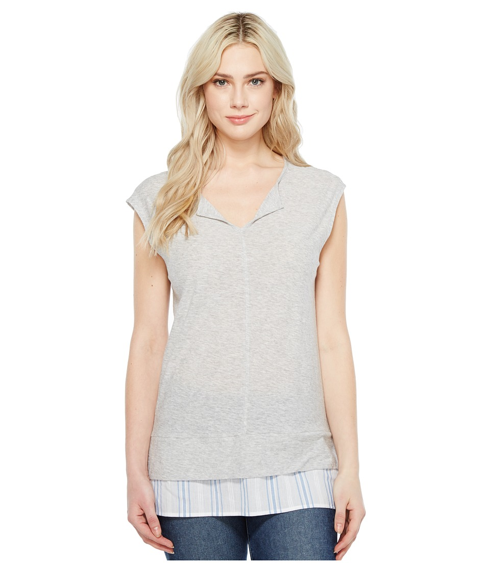 TWO by Vince Camuto - Split-Neck Knit Tee w/ Seersucker Shirttail (Grey Heather) Women's T Shirt