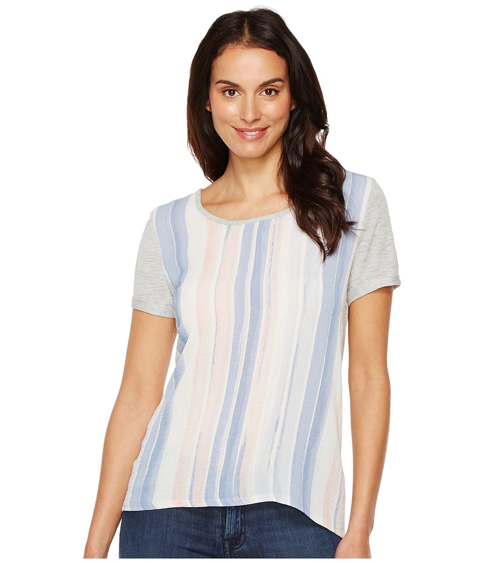 TWO by Vince Camuto - Short Sleeve Paintwash Stripe Mixed Media Tee (Grey Heather) Women's T Shirt