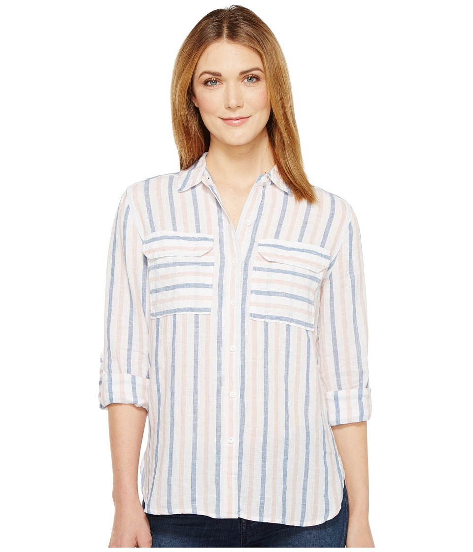 TWO by Vince Camuto - Long Sleeve Stripe Relaxed Linen Shirt (Blush Pink) Women's Long Sleeve Button Up