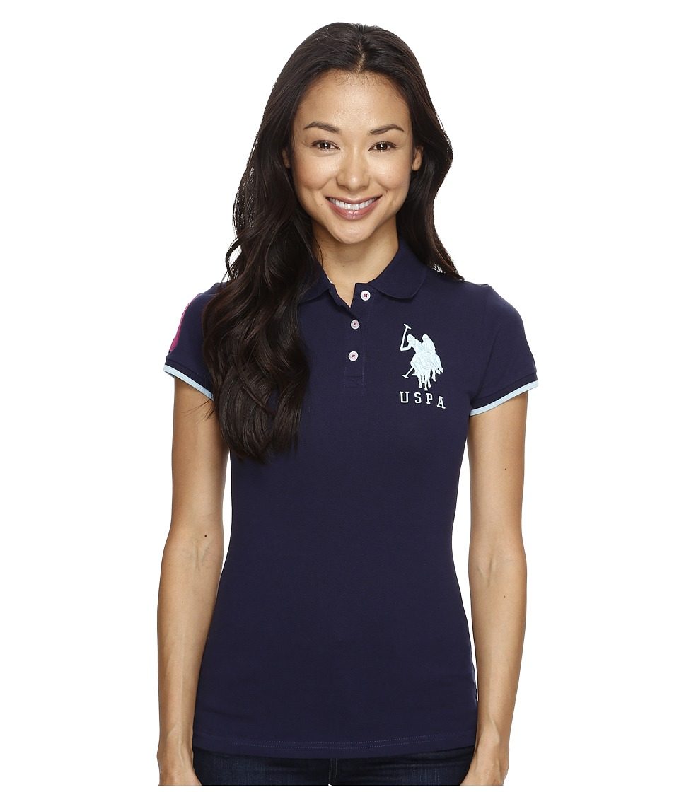 U.S. POLO ASSN. - Contrast Patch Big Pony Polo (Tribal Navy/Spring Water/Tiare Orchid) Women's Short Sleeve Pullover