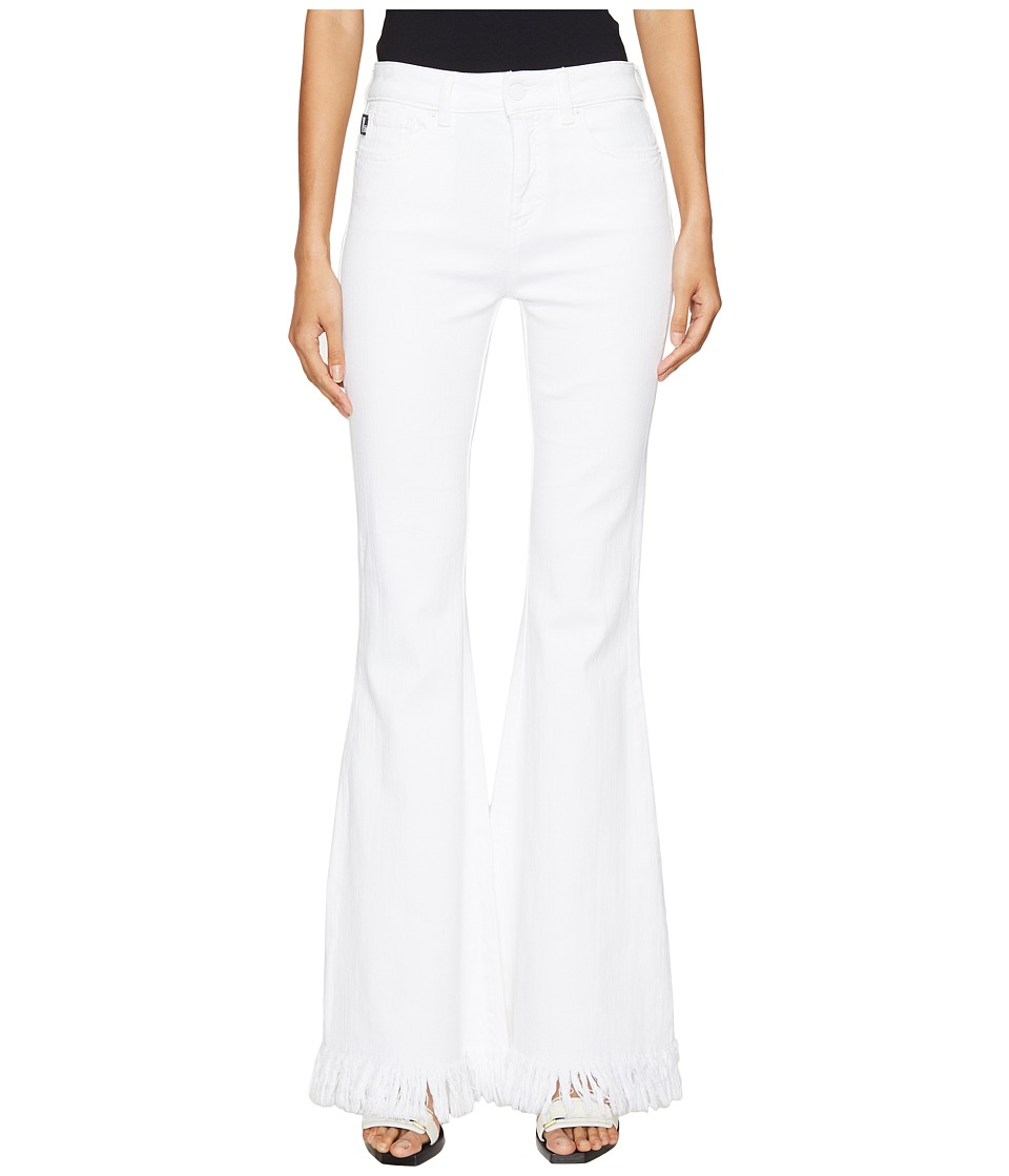 LOVE Moschino - Denim Fringe Flare Jeans (White) Women's Jeans