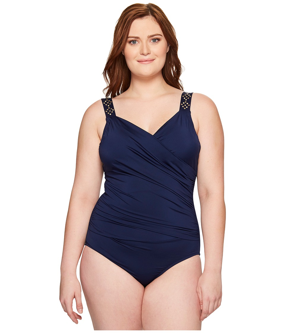 Jantzen Plus Size Solids Novelty Shoulder Draped Surplice One-Piece (Nocturne Blue) Women