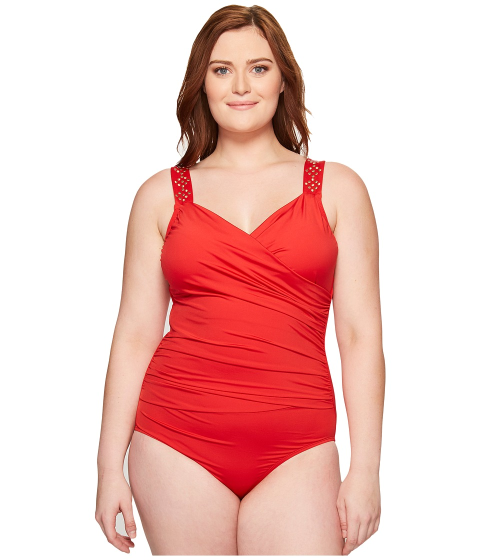 Jantzen - Plus Size Solids Novelty Shoulder Draped Surplice One-Piece (Lipstick Red) Women's Swimsuits One Piece