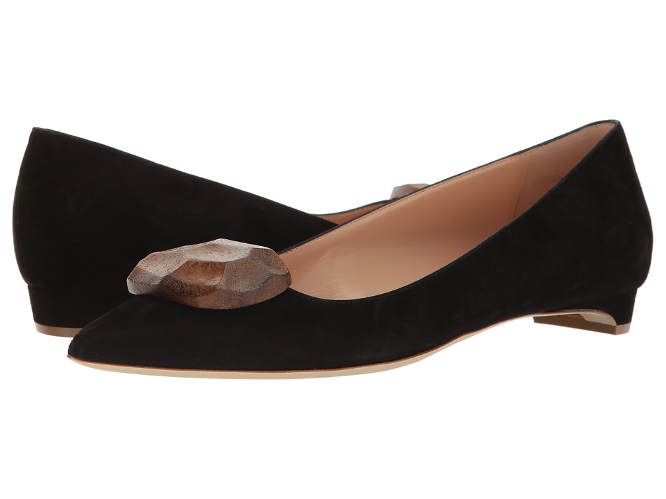 Rupert Sanderson - Bedfa Wooden Pebble (Black Suede) Women's Shoes