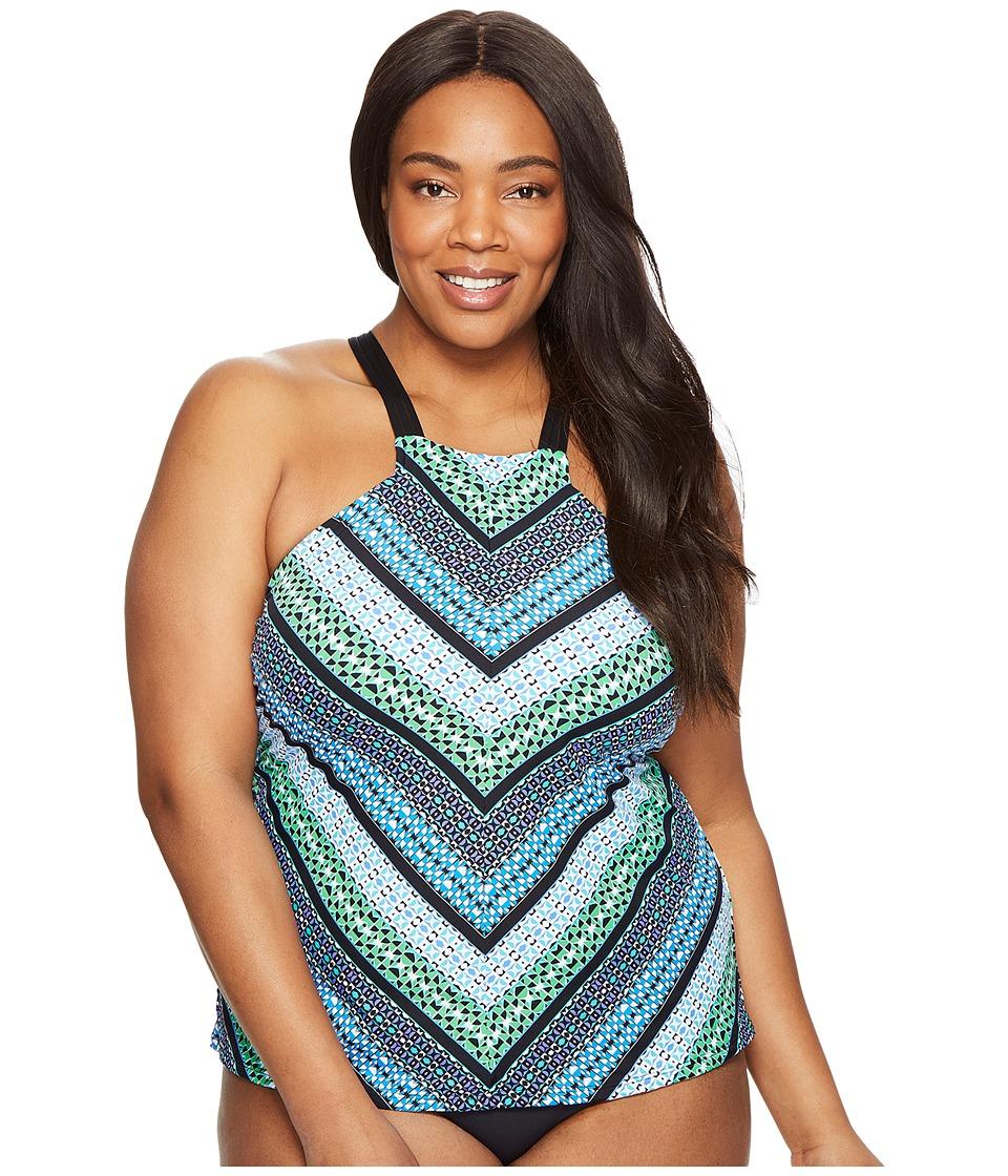 Jantzen Plus Size Geo Graphic Stripe High Neck Tankini (Cool) Women