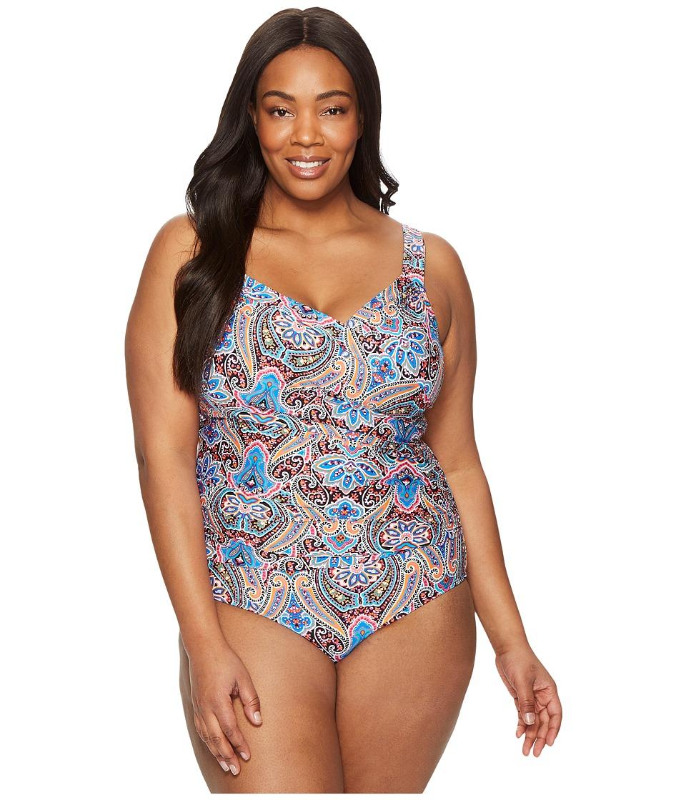 Jantzen - Plus Size Vibrant Paisley Draped Over the Shoulder Surplice One-Piece (Multi) Women's Swimsuits One Piece