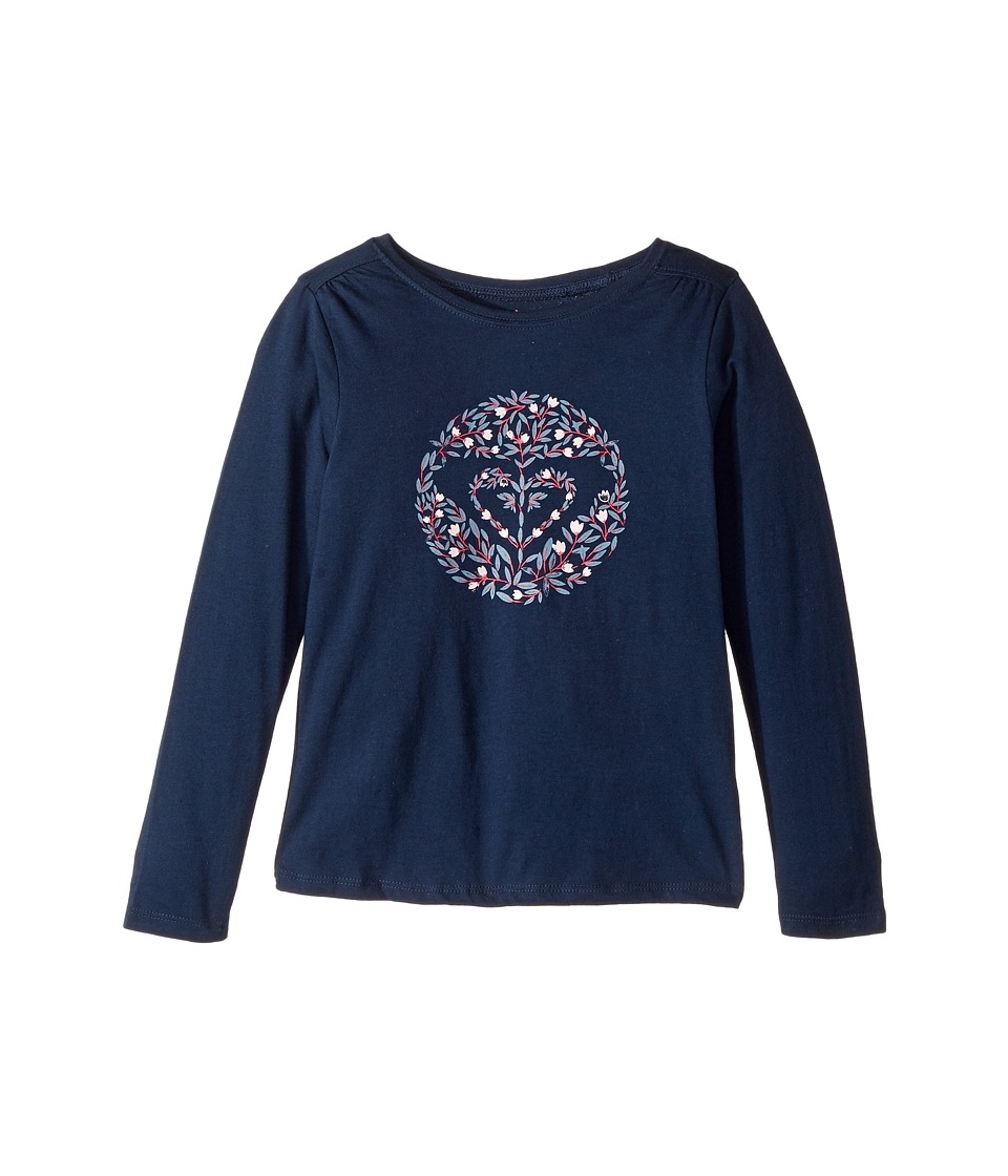Roxy Kids - Never Ages Nice One Heart Tee (Toddler/Little Kids/Big Kids) (Dress Blues) Girl's Long Sleeve Pullover