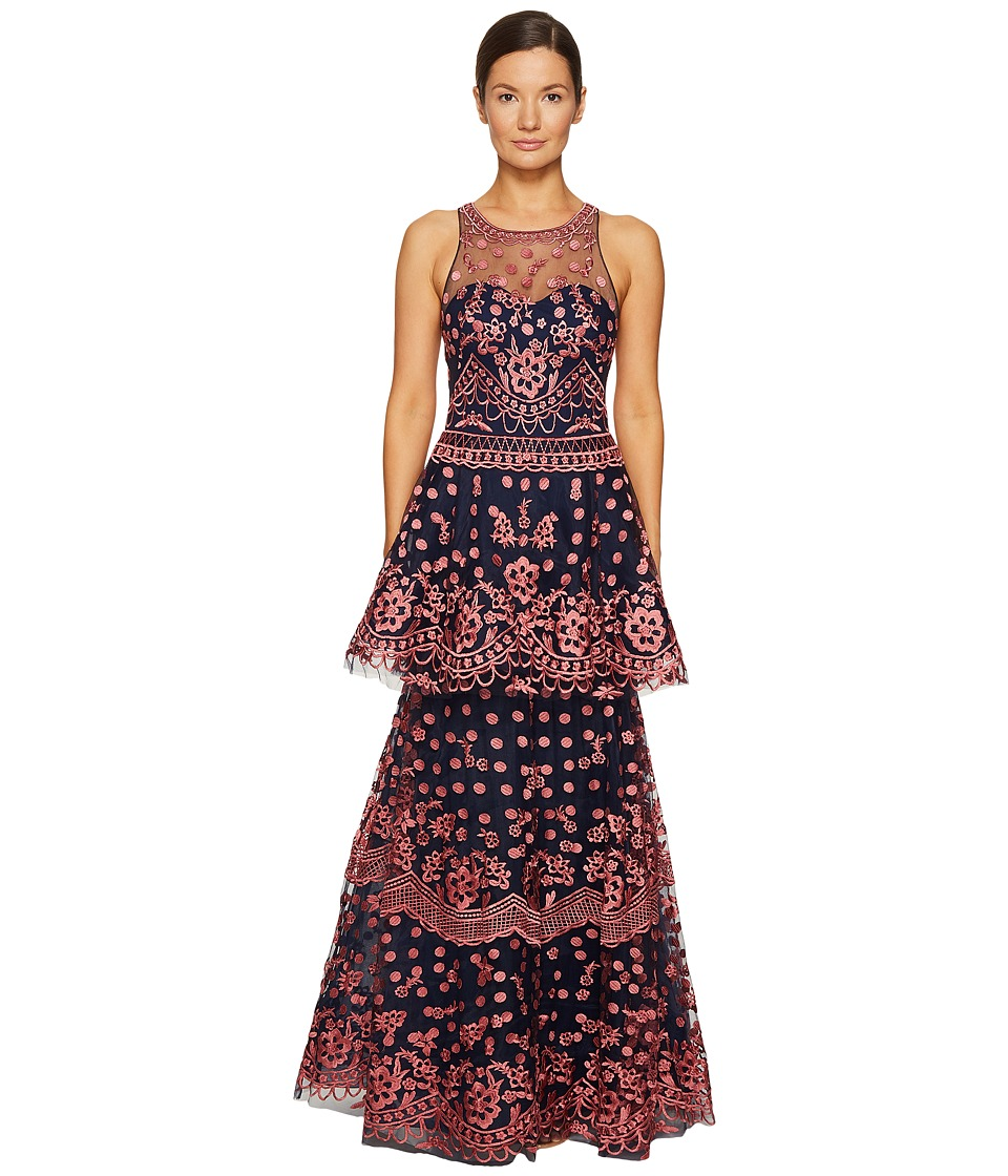 Marchesa Notte All Over Embroidered Dress w/ Two Tiered Skirt (Navy) Women