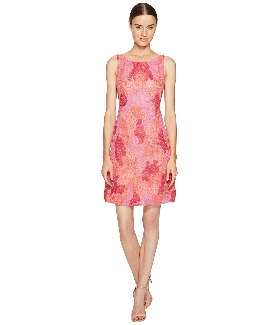 Marchesa Notte - All Over Embroidered Cocktail Dress (Fuchsia) Women's Dress