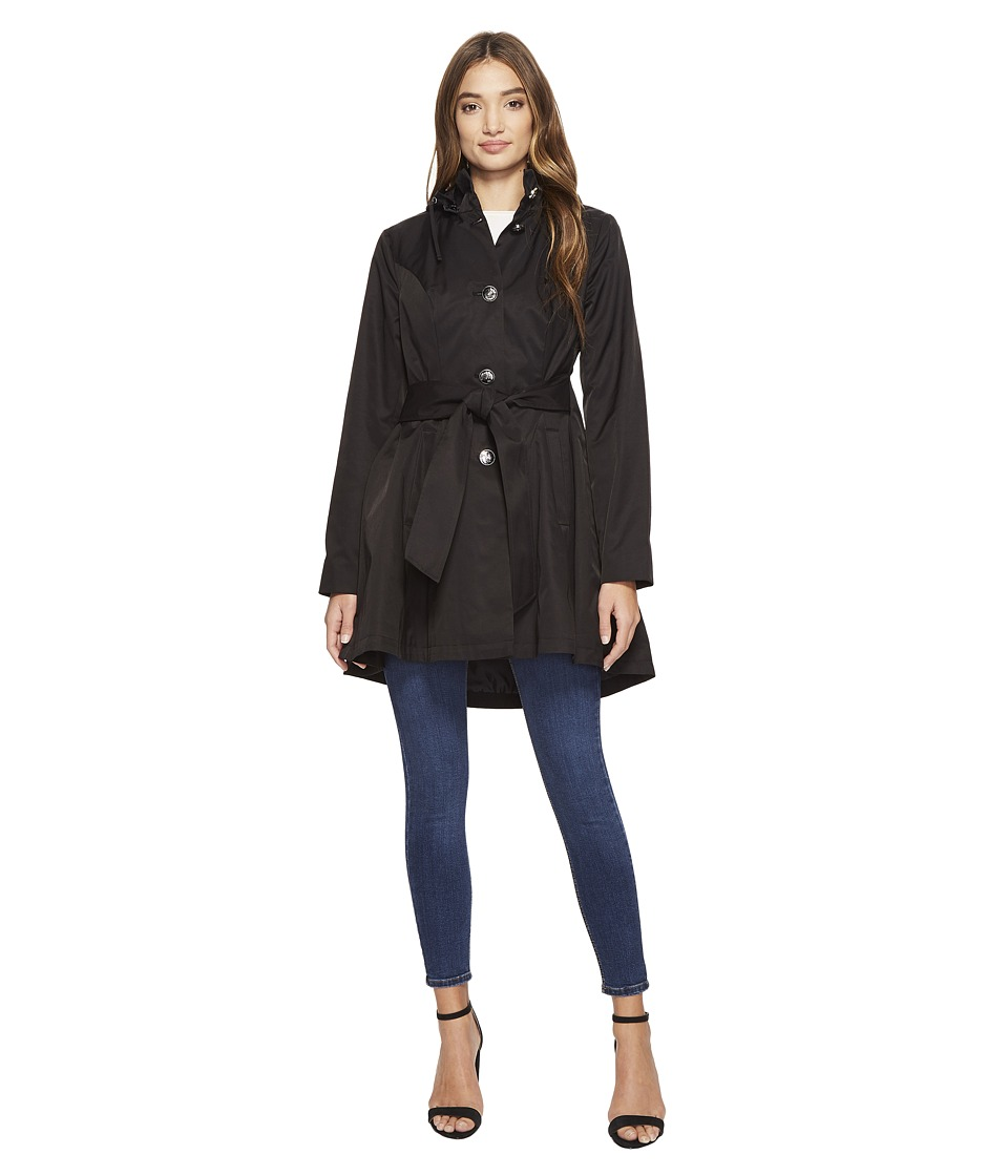 Betsey Johnson - Belted Raincoat (Black) Women's Coat