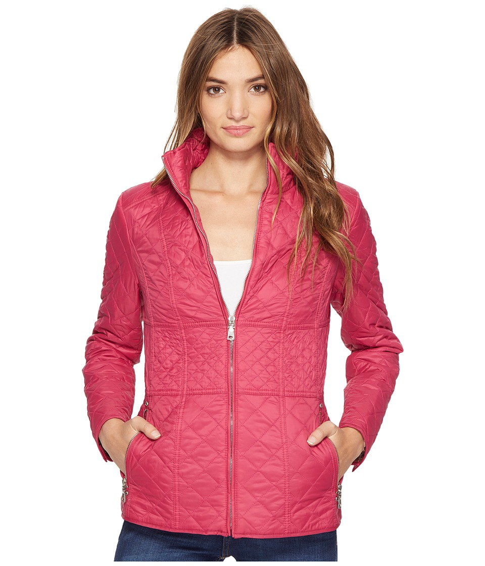 Betsey Johnson Quilted Spring Zip (Berry) Women