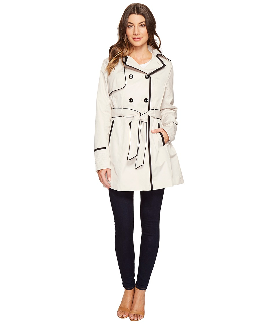 Betsey Johnson - Belted Trench Coat with Contrast Piping (Rain/Black) Women's Coat