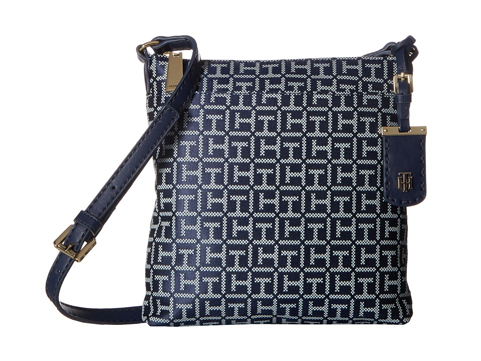 Tommy Hilfiger - Julia Signature Jacquard Crossbody (Navy/White) Cross Body Handbags