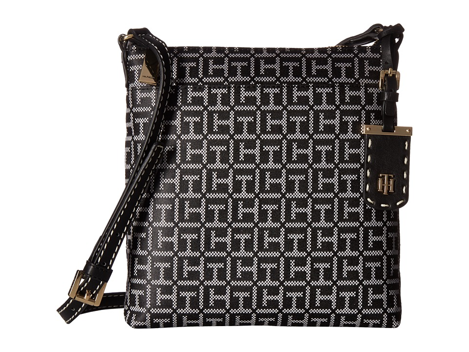Tommy Hilfiger - Julia Signature Jacquard Crossbody (Black/White) Cross Body Handbags