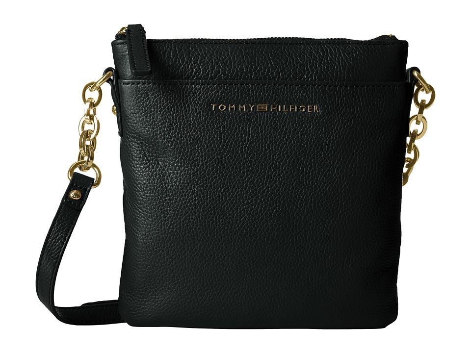 Tommy Hilfiger - Eloise Pebble Leather Crossbody (Black) Cross Body Handbags