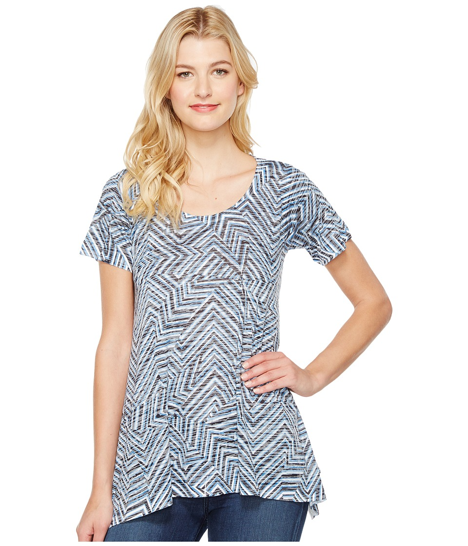 Nally & Millie - Geometric Print Burnout Tunic (Multi) Women's Blouse