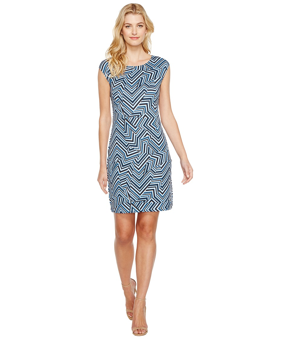 Nally & Millie - Geometric Print Cap Sleeve Dress (Multi) Women's Dress