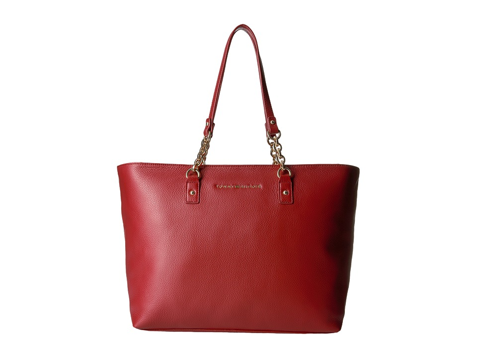 Tommy Hilfiger - Eloise Pebble Leather Tote (Tommy Red) Tote Handbags