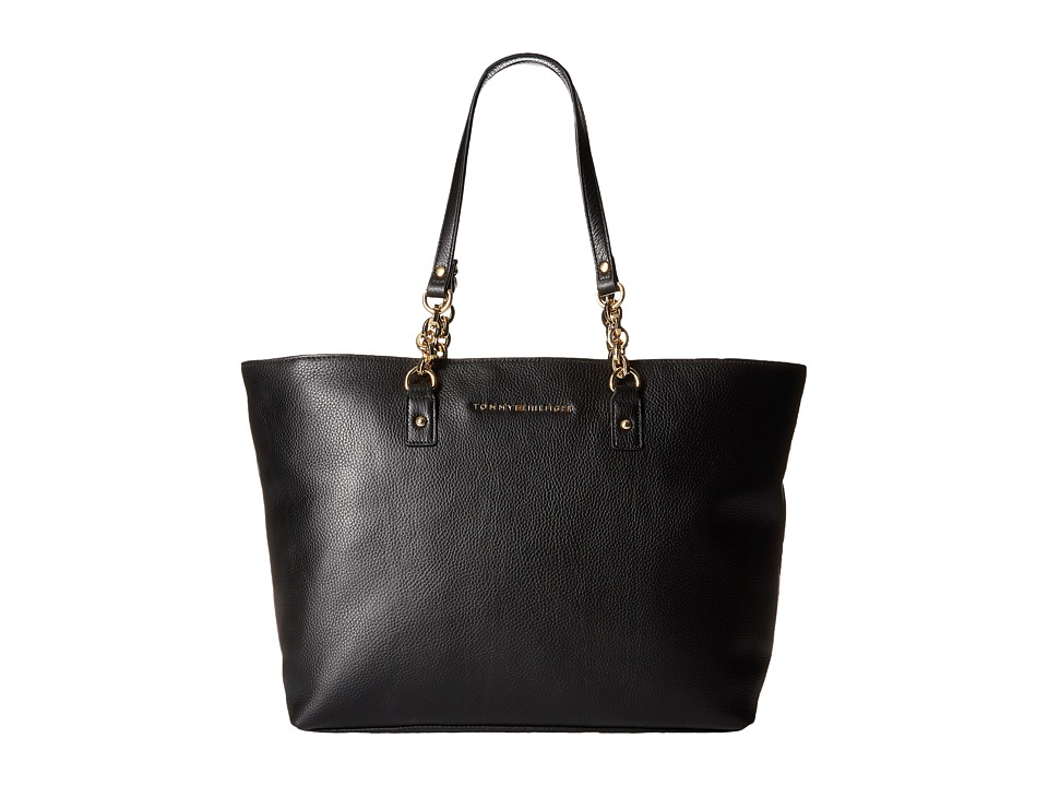 Tommy Hilfiger - Eloise Pebble Leather Tote (Black) Tote Handbags