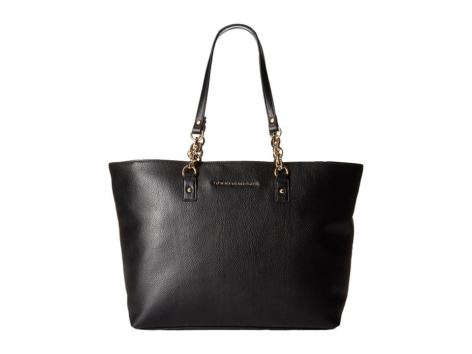 Tommy Hilfiger - Eloise Pebble Leather Tote (Black) Tote Handbags