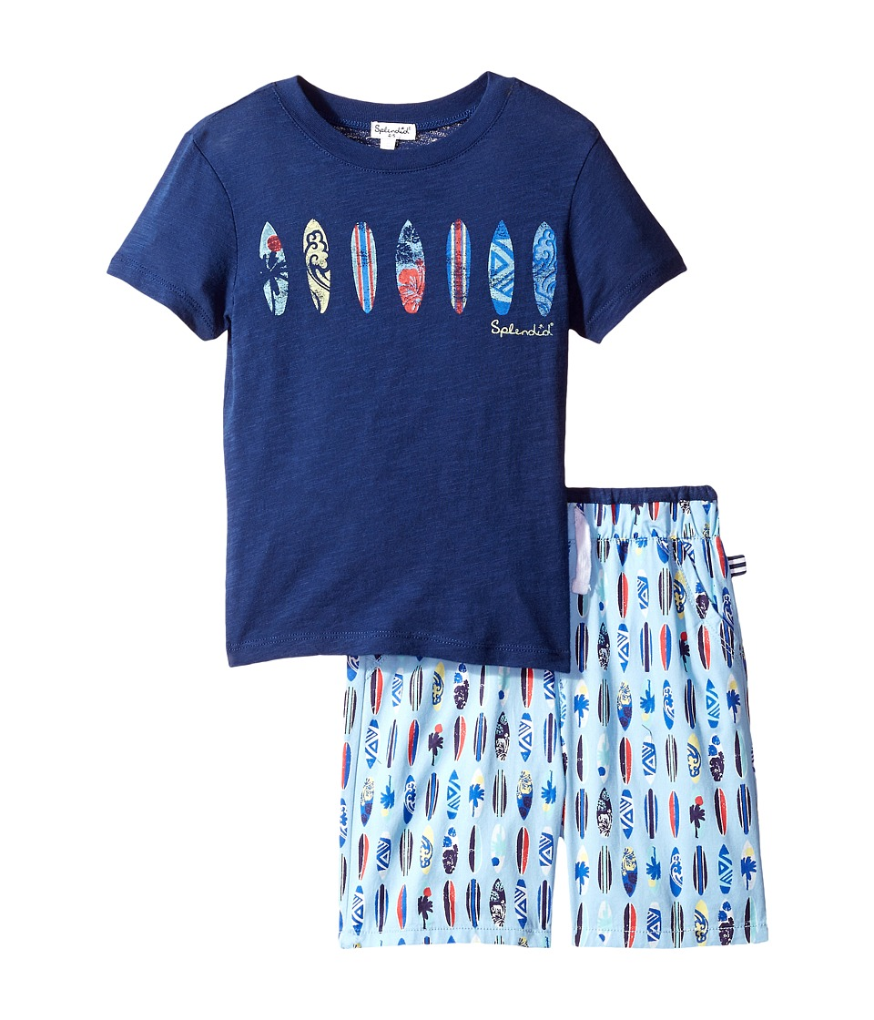 Splendid Littles - Surfboard Printed Short Set (Little Kids/Big Kids) (Navy) Boy's Active Sets