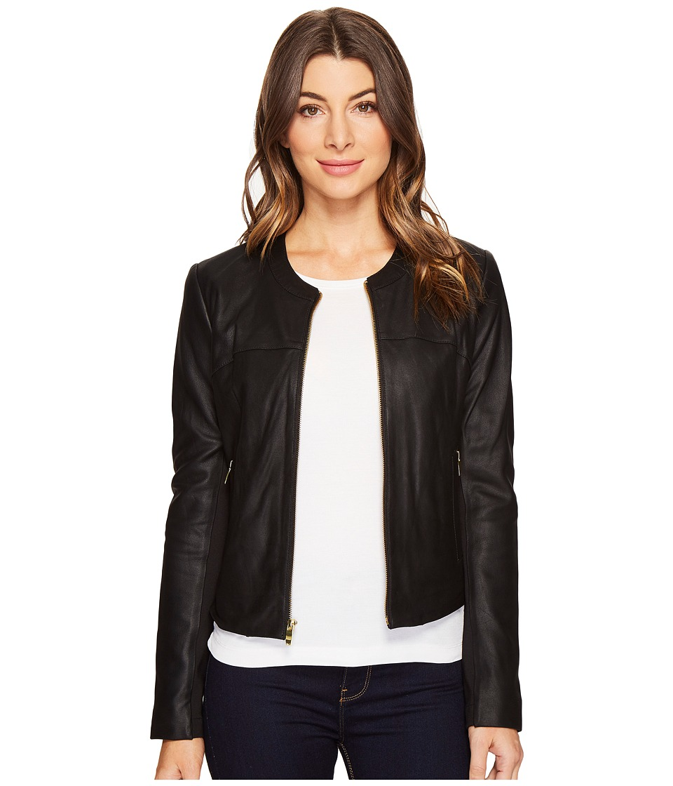 Via Spiga - Zipped Leather Jacket (Black) Women's Coat