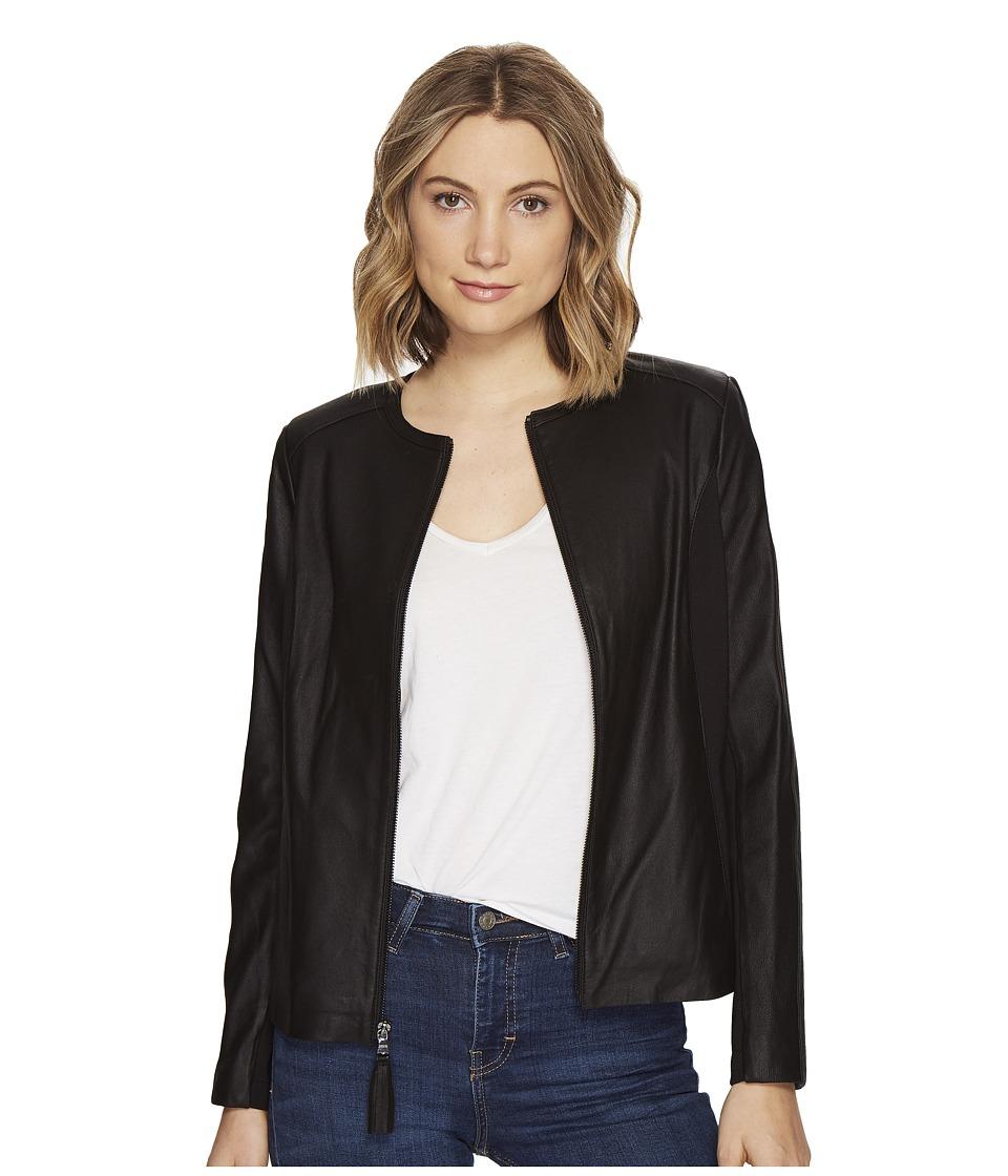 Via Spiga - Zip Collarless Jacket with Knit Trim (Black) Women's Jacket