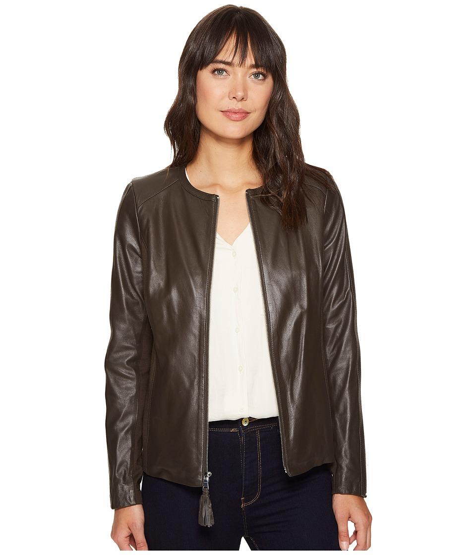 Via Spiga - Zip Collarless Jacket with Knit Trim (Tusk) Women's Jacket