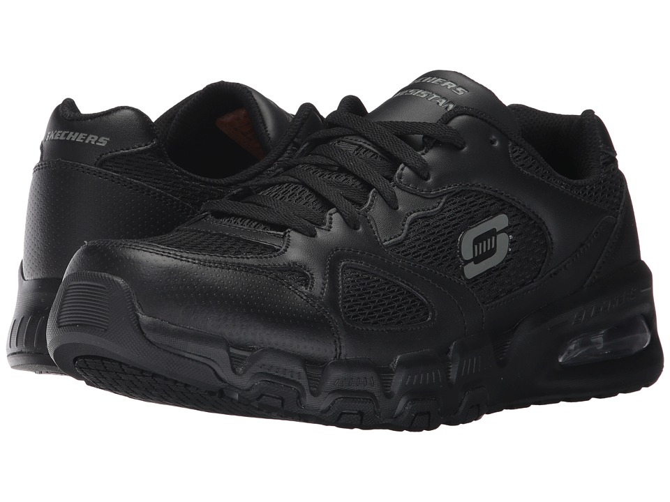 SKECHERS Work - Pittstor (Black Leather/Mesh/Water Stain Repellent Spray) Men's Lace up casual Shoes