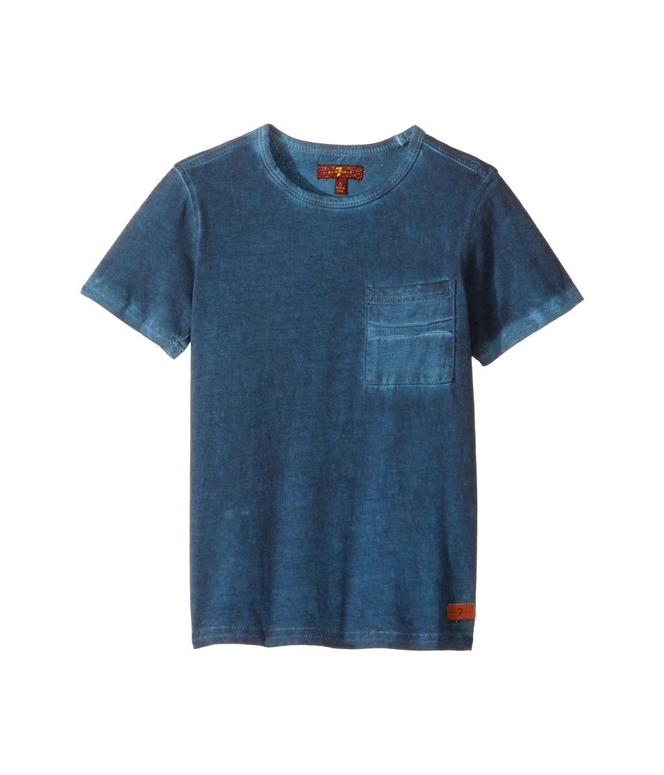 7 For All Mankind Kids - Crew Neck Tee (Little Kids/Big Kids) (Indigo) Boy's T Shirt